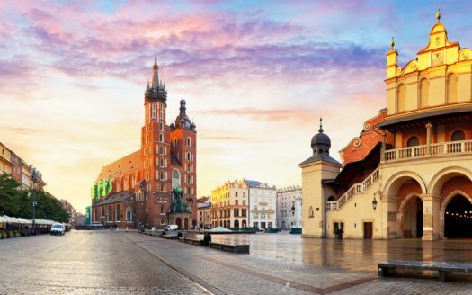 Market Square at sunrise in Krakow, Poland