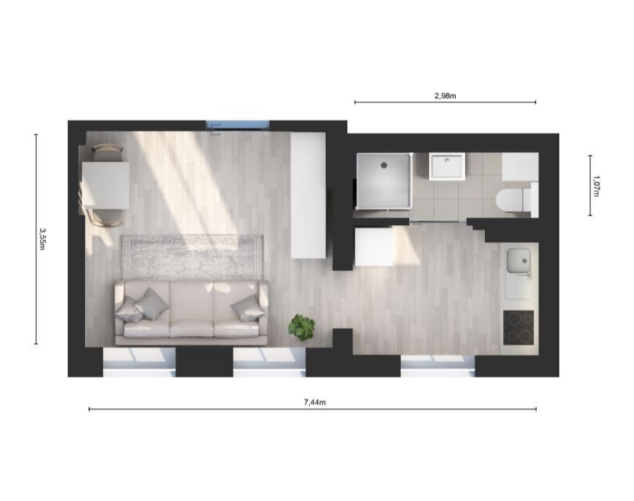 Big studio flat to renovate