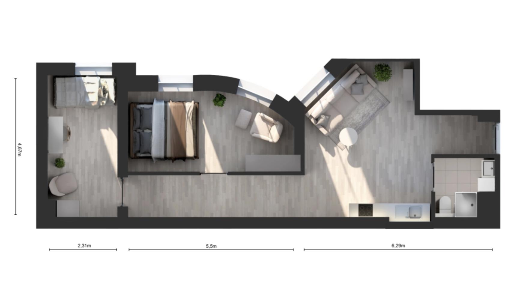 2 bedrooms flat LODZ