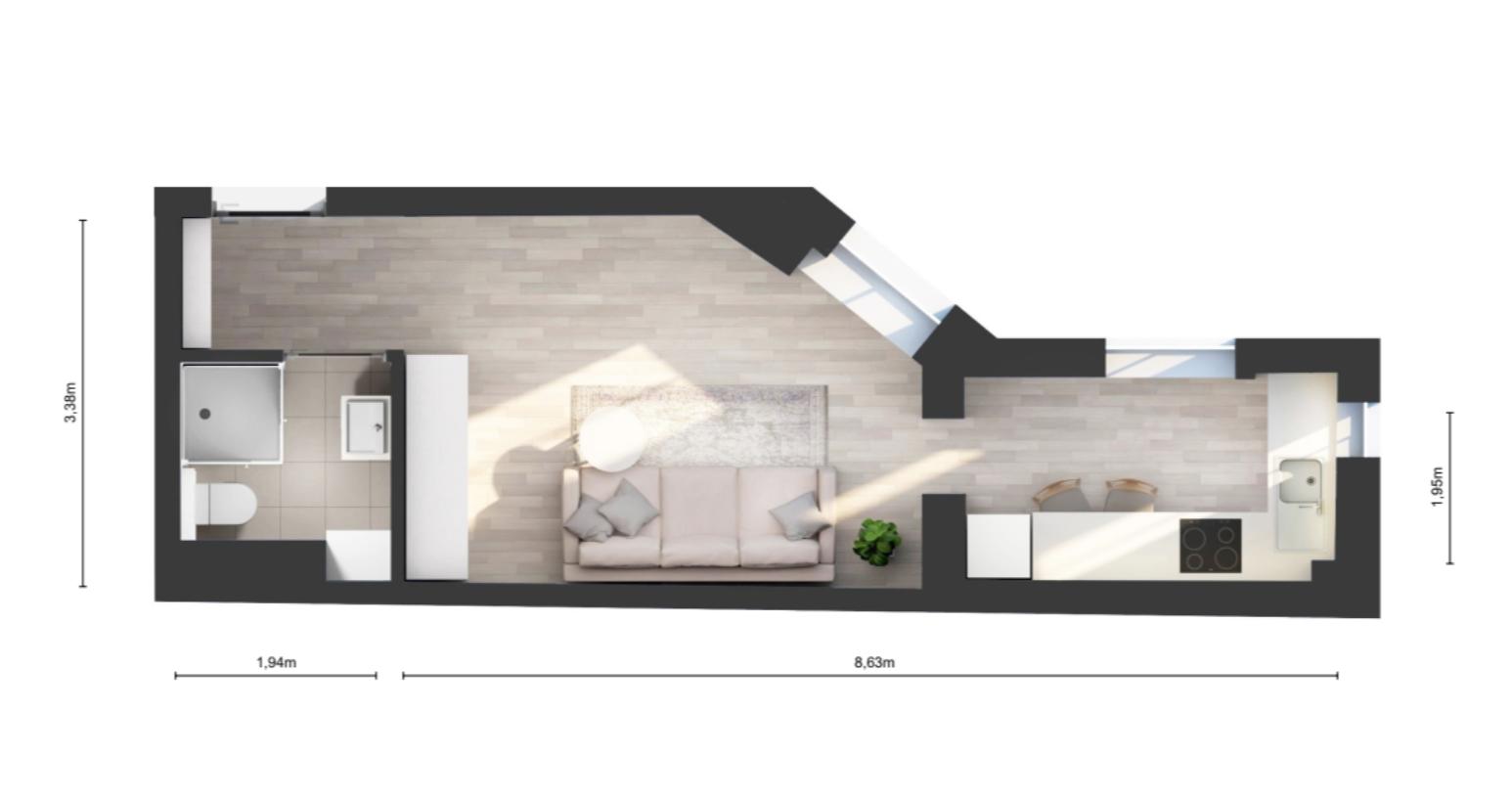 Lodz Studio flat plan
